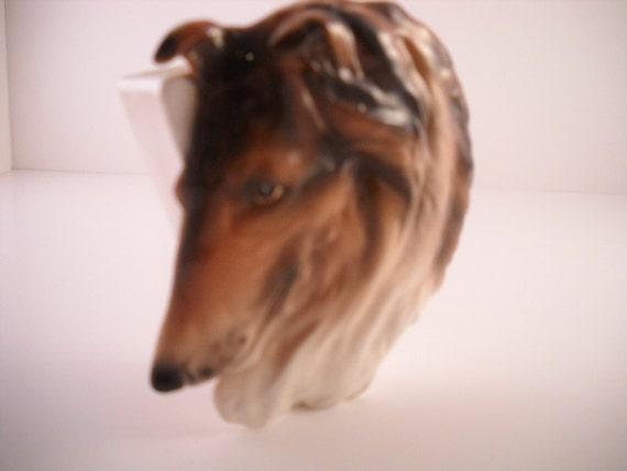 Vintage Ceramic Collie Dog Wall Pocket.  Made in Japan