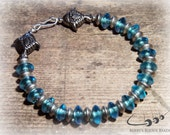 Mens Beaded Bracelet, Sea Blue Glass Disc Beads Interlaced with Silver Bali Fish Beads - Handmade Mens Jewelry for Spring