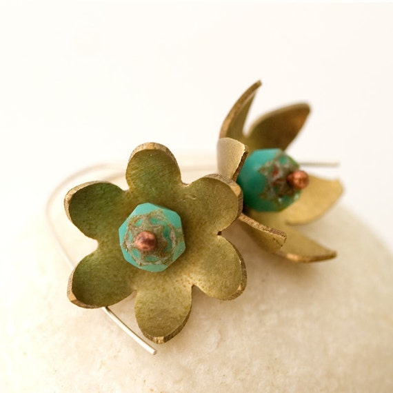 Flower earrings - bronze and turquoise