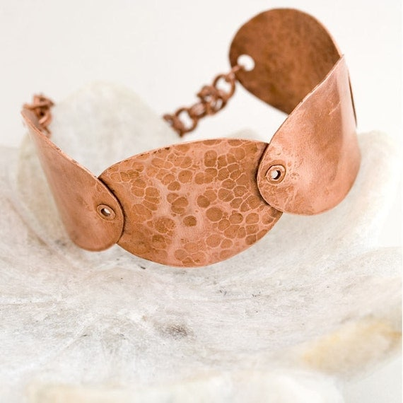 Copper bracelet - handmade, chainmaille, ovals