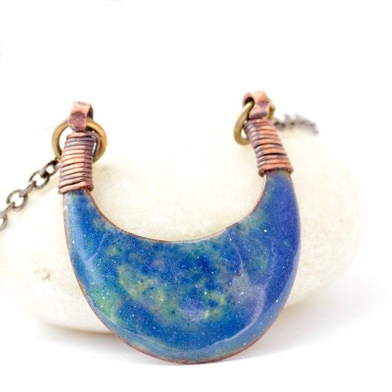 Blue green enamel pendant, enamel necklace