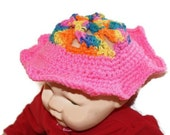 SALE- Crocheted Baby Girl Spring Hat -  Bonnet-  Multicolor Cloche, Summer Hat, Infant Hat, Flower crown hat, Spring Hat, Baby Bonnet, Cloch