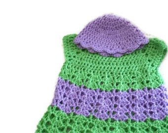 Baby Dress Hat Set, Infant Girl Clothes, Purple Hat, Green Baby Dress, Infant Apparel, Newborn Baby Dress, Baby Cloche, Easter Dress