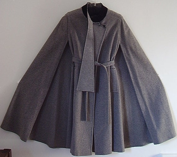 Gray Wool Cape Mod and Dramatic Gemini with Black Velvet Jacket