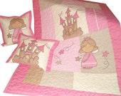 Fairy Quilt,  3- Piece Custom Toddler  Bedding,  Baby Blanket, Pillowcases -pink-beige-natural- HET