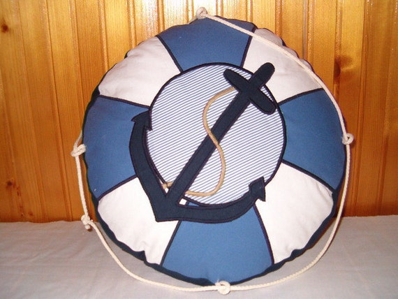 Lifesaver Pillow, Lifebelt Pillow, Life Buoy Pillow,  Life Preserver, Blue and White Nautical Ocean Beach Theme