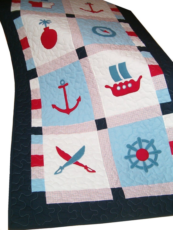 Pirate Blanket, Patchwork Quilt Blanket,Toddler Quilt Blanket, Ship's Bedding into Children's Room