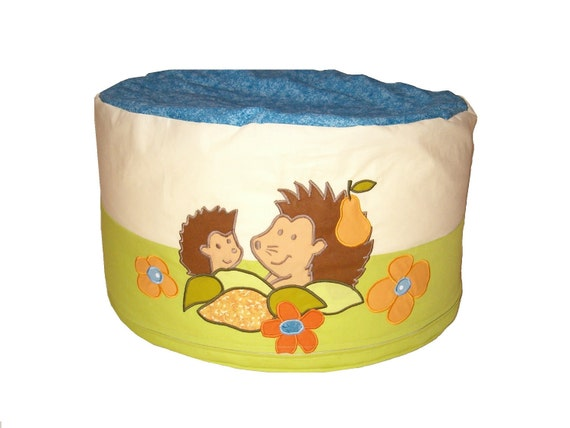 Kids floor cushion, round pouf, floor pouf, floor cushion, hedgehog floor pillow, toddler bean bag chair