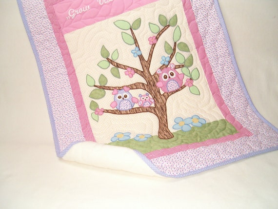 Owl Quilt, Owl Blanket, Organic Nursery Bedding, Personalized Baby Shower Gift, Child Decor, pink- green-yellow-white-  HET
