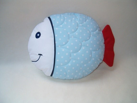 Kids Fish Pillow - That's Amore -  White  Blue  Red - HET -