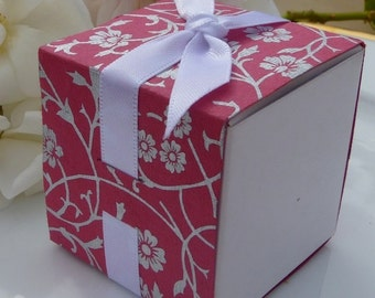 SALE ! - Pink and Silver Flowers Favor Box Wraps - Weddings Parties Events - Versatile and Gorgeous - SALE Now 0.20 Each Minimum Order 50