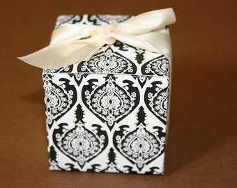 SALE ! - Black and White Damask Favor Boxes - Great for Weddings, Receptions, Events - SALE 0.50 Per BOX - Minimum Order is 50 For Sale