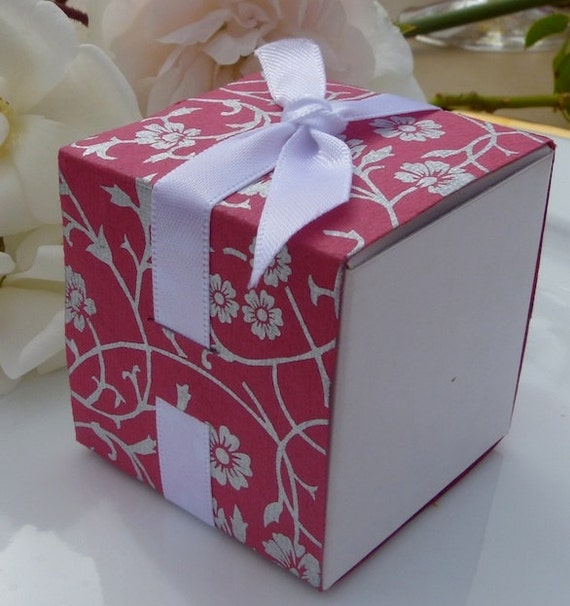 SALE ! - Pink and Silver Flowers Favor Box Wraps - Weddings Parties Events - Versatile and Gorgeous - SALE Now 0.21 Each Minimum Order 50