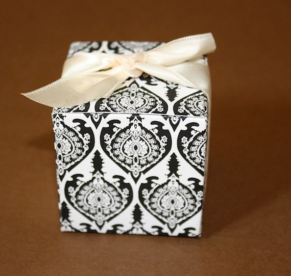 Black And White Damask Favor Boxes : Sale black and white damask favor boxes great for