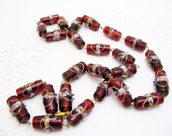 Beautiful Old Wedding Cake Bead Necklace Garnet and Copper and Pink and Blue