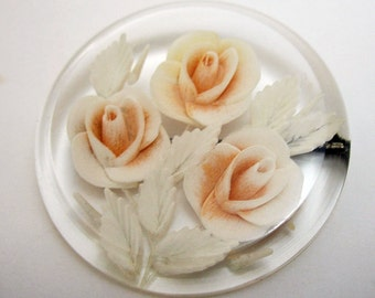 Large Round Lucite Reverse Carved Pink Roses Brooch Pin Beautiful Pale roses