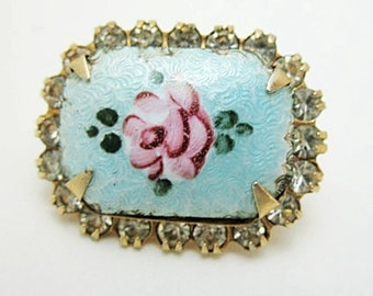 Rose and blue Guillouche and Gold tone rhinestone brooch pin