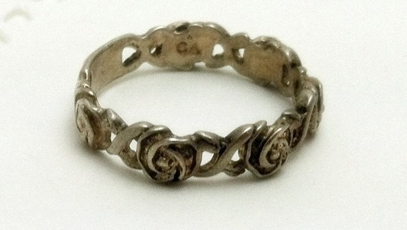 Antiqued Sterling Silver Roses Ring Size 8