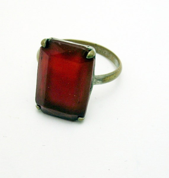 Reserved-Antique Carnelian Ring in brass size 8