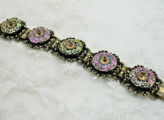 Dichroic Molded Glass Book Chain Bracelet Antiqued Gold Setting Judy Lee Unsigned