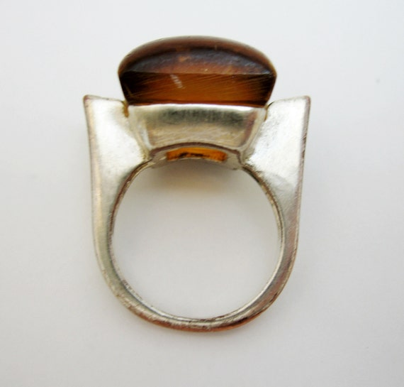 Modernist Copper Ring with lucite Amber cabochon silver plated size 7