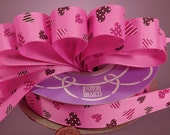 """Pink Sweethearts on Hot Pink Grosgrain Ribbon 7/8"""" wide  - 3 yards"""