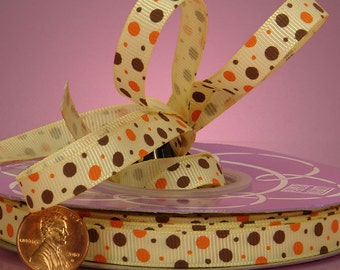 "Brown and Orange Pretty Dots on Buttermilk Grosgrain Ribbon 3/8"" wide  - 1 yard"
