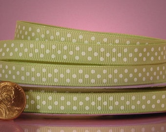 "White Polka Dots on Mint Grosgrain Ribbon 3/8"" wide  - 3 yards"