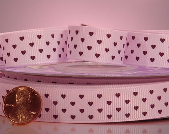 "Tiny Brown Hearts on Light Pink Grosgrain Ribbon 5/8"" wide  - 2 yards"