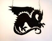 """Dragon  """"Dark Wyrm"""" Necklace or Medalion - Laser Cut Acrylic"""