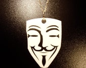 "V for Vendetta inspired ""Guy Fawkes"" Pendant or Necklace-  Laser Cut Acrylic"