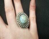 RESERVED FOR SHAWNA: Ring Blue Metal Vintage Oval Adjustable Handmade