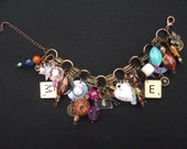 Bracelet Scrabble Steam Punk Charm Beaded Handmade