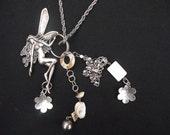 Necklace Fairy Large Flower Metal Charm Handmade