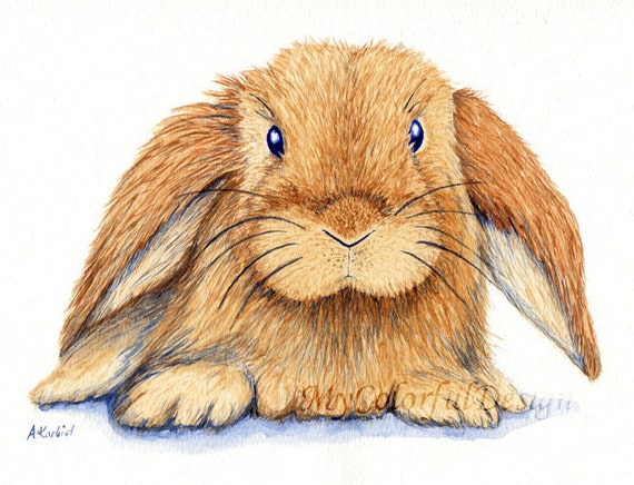 "Original Watercolor -10x8"" - Floppy-eared Bunny"