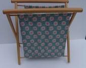 Vintage Knitting/Sewing Basket on Wooden Folding Frame