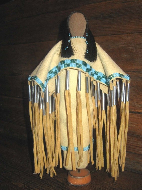 Blue Beads Native American Made Doll By Loneelkcreations