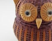 Dark Brown 1970s Wicker Owl Container Pot