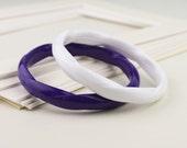 2 Plastic White Purple Twisted 1980s Bangle Bracelets