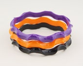 Set of 3 Plastic Purple Orange Black Narrow Ripple Wavy 1980s Bangle Bracelets