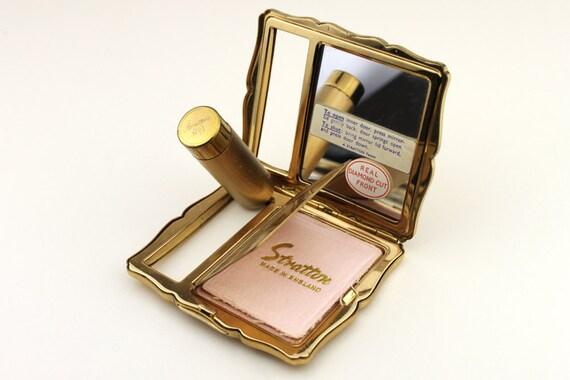 Vintage Stratton Compact Diamond Cut With Pop Up Lipstick