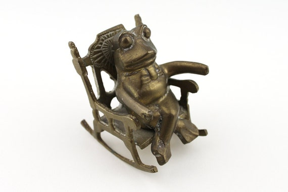 Cute Brass Frog in a Rocking Chair Ornament