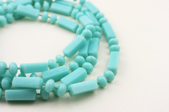 1980s Very Long Turquoise Rectangle and Disc Beaded Necklace