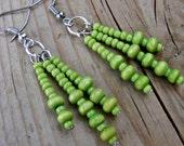 Lime Green Wooden Triple Dangle Beaded Earrings