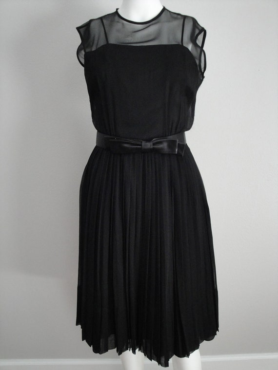 Vintage 1950s 50s Cocktail Dress  Little Black Dress with Matching Belt Holiday Fall Fashion Designer Howard Wolf  Mad Men