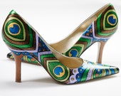 Hand painted Shoes- Peacock Lady Pumps- Peacock painted heels