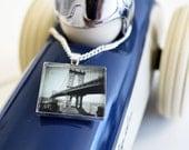 Bridge Necklace - Black and white jewelry - New York Bridge Pendant