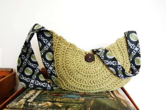 Over the shoulder crocheted hobo purse with a repurposed necktie