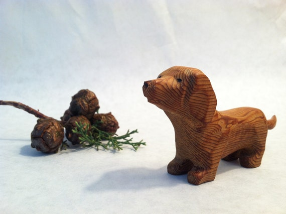 Vintage Carved Wooden Dachshund- Dog- Toy- Collectible