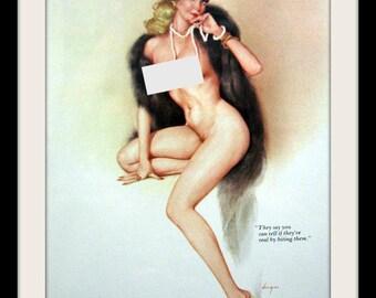 "VARGAS ALBERTO Blonde Pinup Girl ""Biting Blonde"" Vintage Print, Playboy Nude Art Wall Decor, Mature"